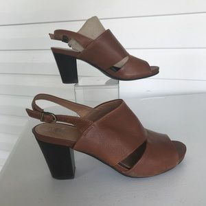 Brown leather chunky heel sling back sandals 9.5